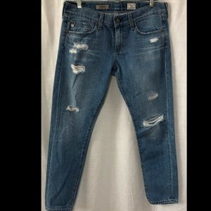 "Adriano Blue Denim Cropped Jeans - Waist 34"""